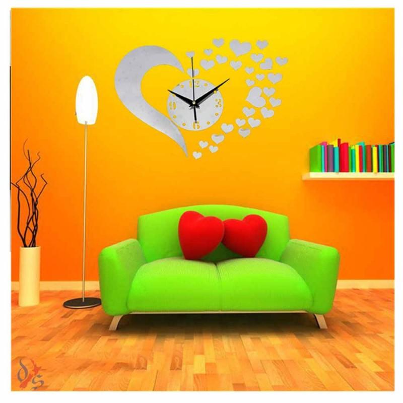 Modern Love Mirror Sticker Wall Clock